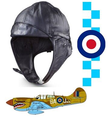 Flyers Flying Hat  Biggles Style Brown Leather Classic Flying Helmet WW2 Aviator