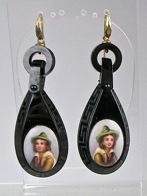RARE Antique Victorian Whitby Jet Articulated Earrings Hnd Painted Ceramic Disks