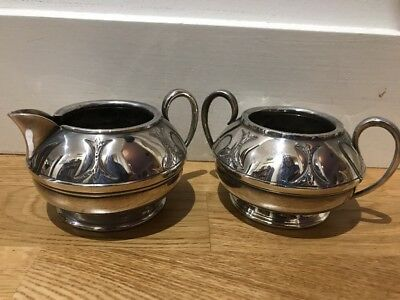 Antique Silver Plated Sugar Bowl & Milk Jug Made In Sheffield By CIVIC
