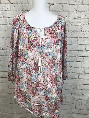 99228f3fd48588 CHAPS WOMENS TOP Peasant Floral Pink Blue White Blouse Size 1X A69 ...