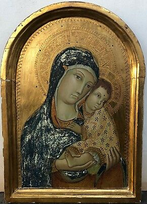 L. 19th c Italian Pre-Raphaelite/E. Renaissance Oil/Panel Madonna & Child Icon