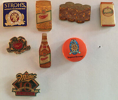 Lot of 8 Beer Pins MIller Bell's Oberon Inspired Brewing Stroh's