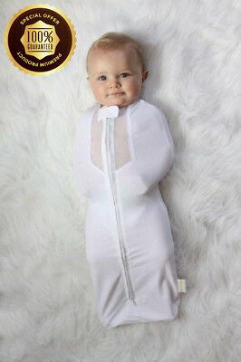 Woombie Air Baby Swaddle for Babies 0 - 3 Months - White