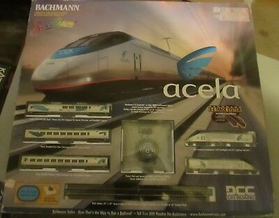 N Scale Bachmann Acela  5Pc Set Dcc Equipped W/ Transformer And E-Z Track Ob