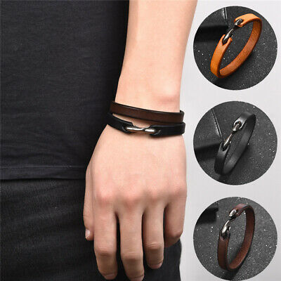Men Punk Simple Leather Bracelet Bangle Length 20cm For Christmas Jewelry Gift