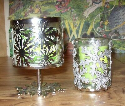 Two (2) Bath & Body Works Holiday Glass Candles with Holders, New, Free Shipping