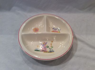Vintage Child Baby Warming Bowl Divided Plate Ceramic Mary Quite Contrary