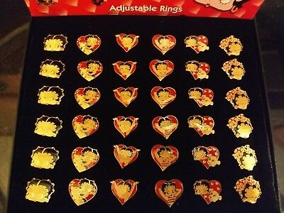 Lot of BETTY BOOP Adjustable Rings 36 Rings 6 Different Designs New From 1999