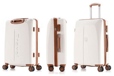 E966 White ABS Universal Wheel Coded Lock Travel Suitcase Luggage 24 Inches W