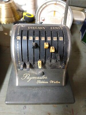 Vintage Paymaster ribbon writer with key. Checks made the old-fashion way!
