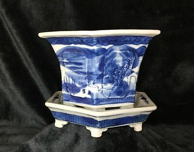 Blue and White Asian Porcelain Cache Pot / Planter