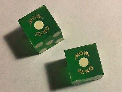 Vintage Closed MGM RENO NEVADA Casino Dice  Uncancelled No #s Low Book is $51
