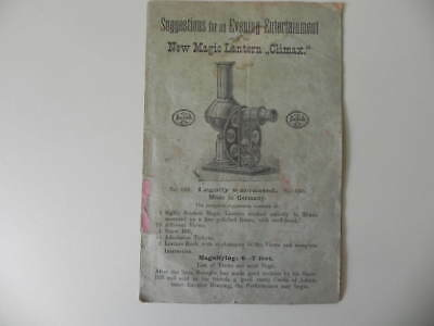 Manual Instruction Booklet for NEW MAGIC LANTERN CLIMAX Antique Germany