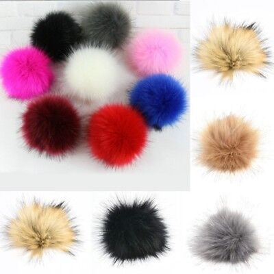 DIY Large Faux Raccoon Fur Pom Pom Ball with Press Button for Knitting Hat Cute