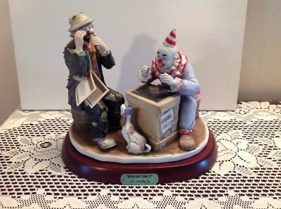 Emmett Kelly Jr Misfortune? Figurine by Flambro w/ Wood Stand Hand Signed LE