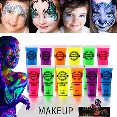 6 Colors Glow In Dark UV Neon Fluorescent Face Body Art Paints Festival Party