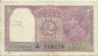 India . 2 Rupees . ND(1943) . P-17b