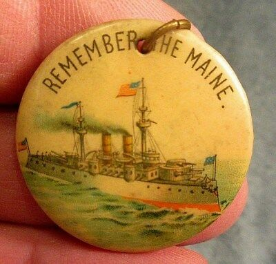 ca 1918 REMEMBER THE MAINE CELLULOID PINBACK NECKLACE PENDANT