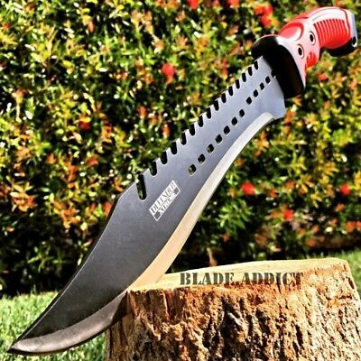 "15.5"" TACTICAL HUNTING SURVIVAL FIXED BLADE MACHETE Rambo Knife Sword Camping RD"