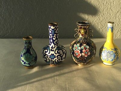 Antique Meiji Japanese, Namikawa, Silver Wire Miniature Cloisonne Vases