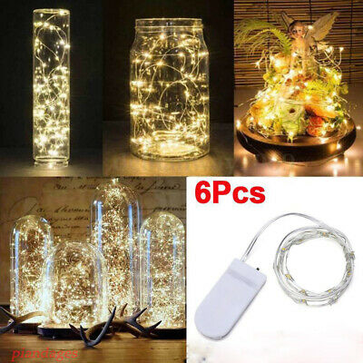 6 Pack 20 LED Battery Micro Rice Wire Copper Fairy String White Lights Party 2M