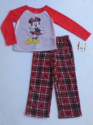 NWT Disney MINNIE MOUSE Girls Size 6 Christmas 2-Pc Pajama Set Plaid Fleece