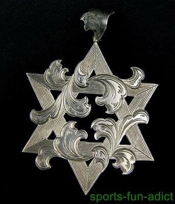 Antique Jewish Star of David Judaica Etched Sterling Silver HALLMARKED Pendant