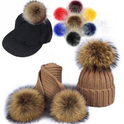 Women's Faux Raccoon Fur Pom Pom Ball with Press Button For Knitting Hat DIY