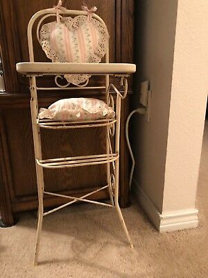 Vintage DOLL HIGH CHAIR Wrought Iron Loop Heart Back with Hand Made Cushions