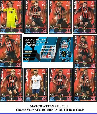 Choose MATCH ATTAX 2018 2019 Topps 18/19 BOURNEMOUTH Star, Badge & Base Cards