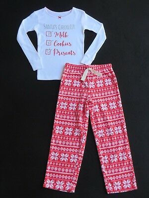 NWT CARTER'S GirlS Size 5 Christmas 2-Pc SANTA'S CHECKLIST 2-Pc Pajama Set