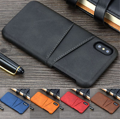 For iPhone XR XS Max X Retro Wallet Credit Card Slot Leather Case Back Cover