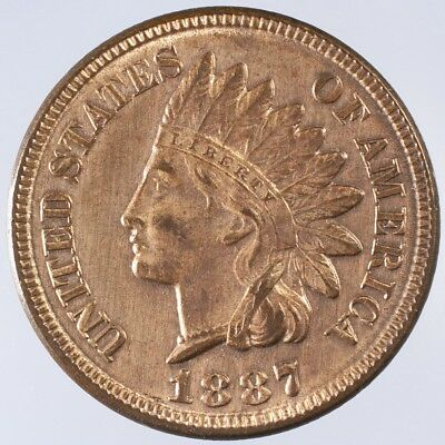 1887 Indian Head Cent AU Lots of Red Luster, lightly cleaned