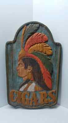 Vintage 1970's Cigars Indian Chief Display Plaque Advertising Sign Faux Wood
