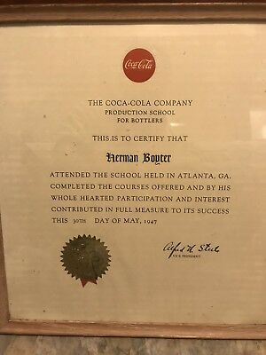 Coca Cola Production School Certification ATLANTA GA 1947 RARE