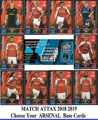 Choose MATCH ATTAX 2018 2019 Topps 18/19 ARSENAL Star, Badge, Fans' & Base Cards