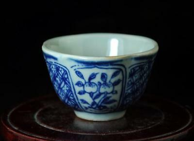 Chinese Old Hand-Made Blue And White Porcelain Hand Painted Four Flowers Cup A02