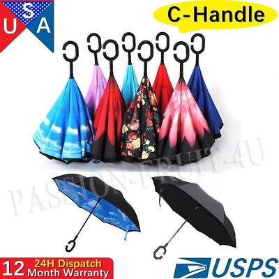 Hand-free C-Handle Reverse Umbrella Double Layer Upside Down Inverted SUN/RAIN C