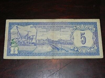 Netherlands Antilles 5 Gulden Banknote 1980 P-15a Circulated JCcug 18856