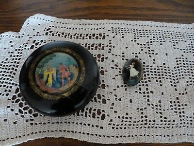 """VINTAGE RUSSIAN LACQUER LACQUER BOX USSR 3"""" Round"""