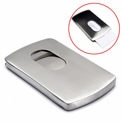 Business Stainless Steel Name Credit ID-Card Holder Metal Case Box Wallet Pocket