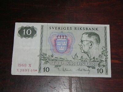 Sweden 10 Kronor * Star Replacement Banknote 1968 P-52r1 Circulated JCcug 181040