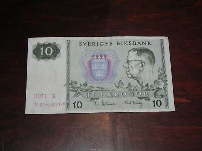 Sweden 10 Kronor * Star Replacement Banknote 1971 P-52r1 Circulated JCcug 181041