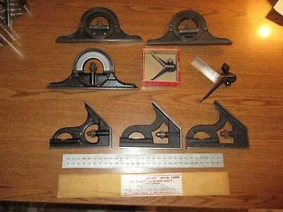 Vintage Starrett Machinist Lot Combination Square Parts Tools No. 12, 490 CB300+