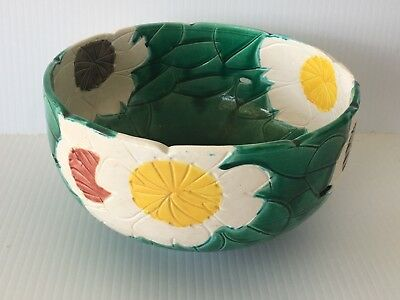 Vintage 1950's Signed Hand Carved Chinese Art Pottery Green/White Bowl C1