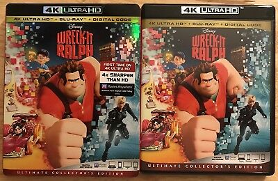 Disney's Wreck-It Ralph 4K Ultra Hd + Blu Ray With Slipcover Free Shipping