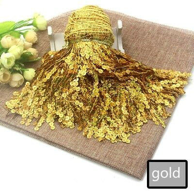 1m Sequin Tassel Trim Fringe 15CM DIY Latin Dance Costume Craft Gold Shiny Decor