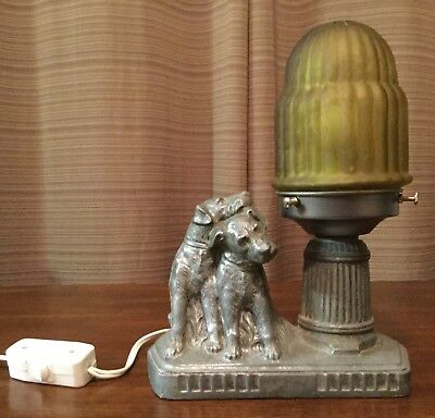 Art Deco Nuart Frankart Spelter Dog Lamp