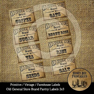 Primitive Farmhouse Vintage Style Labels - Old General Store Brand 18106 Pantry