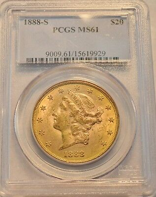 1888 S $20 PCGS MS 61 Gold Liberty Double Eagle, Better Date Uncirculated Twenty